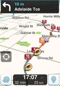 Waze in use in Perth Western Australia